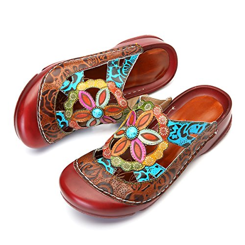 Comfort Mule Summer Leather Women Slip Slipper Brown gracosy Red Shoes Outdoor Clogs Loafers on Flat Sandals Shoes CwqpfFB