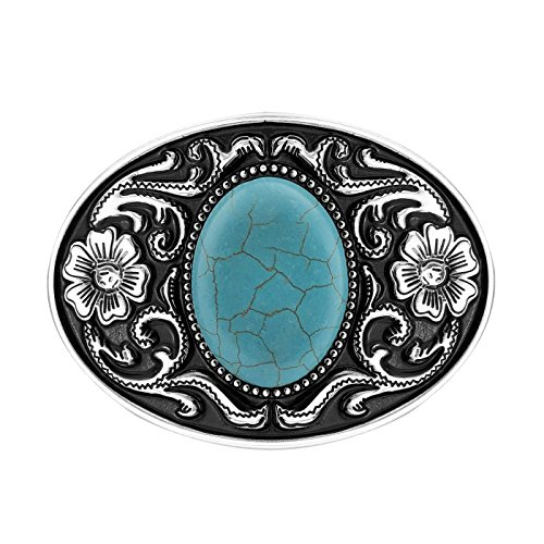 (QUKE American Western Cowboy Turquoise Stone Belt Buckle Flower)