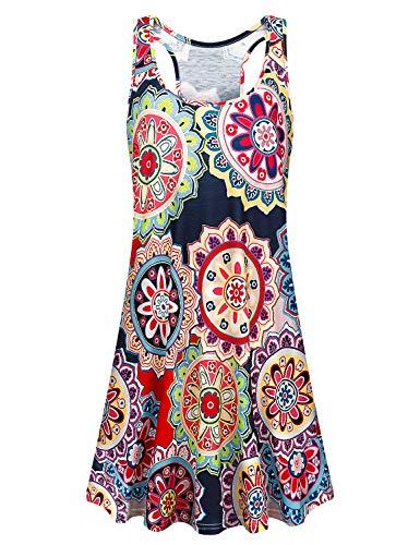 Viracy Sundresses for Women, Boho Dresses for Women Summer Sleeveless Racerback Geometric Print T-Shirt Dress Knee Length Long Tank Tunic Top with Leggings Fit and Flare Swing Cute Holiday Dress L - Dresses Cute Holiday
