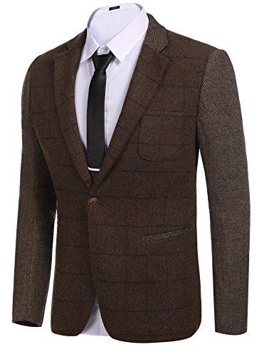 COOFANDY Men's Elegant Regular Fit One Button Plaid Tweed Dress Suit Blazer Jacket (Lined Tweed Suit)