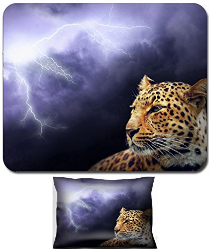 Luxlady Mouse Wrist Rest and Small Mousepad Set, 2pc Wrist Support design and lightning on the dark sky IMAGE: 7768370 (Lightning Shoulder Pads)