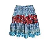 Mogul Interior Women's Fashion Skirt Flared Short Boho Silk Skirts One Size