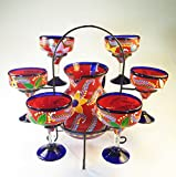 Mexican Margarita Glasses and Pitcher set with dispaly rack, Hand Blown, Hand Painted, Red with various flowers, 14 OZ