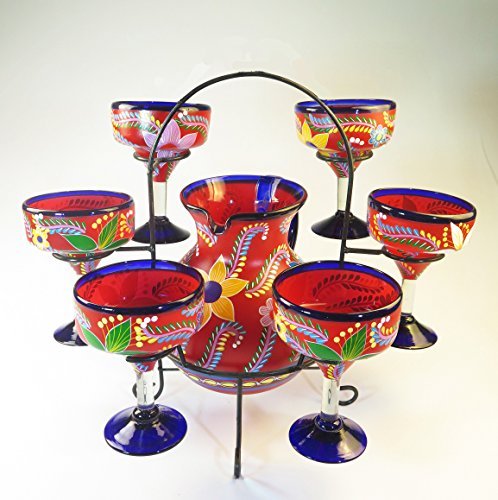 Mexican Margarita Glasses and Pitcher set with dispaly rack, Hand Blown, Hand Painted, Red with various flowers, 14 OZ by Mexican Margarita Glasses