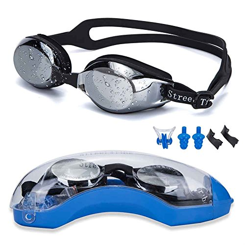 Swimming Goggles,STREET TRIBE Professional Swim Goggles,Anti Leakage, Anti Fog,Anti UV,with Nose Clip, Ear Plugs, Protection Case and Interchangeable Nose Bridge
