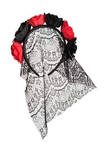 Zivyes Day of The Dead Headband Bride Veil Fancy Dress Costume Halloween Accessories Rose Flower Crown -