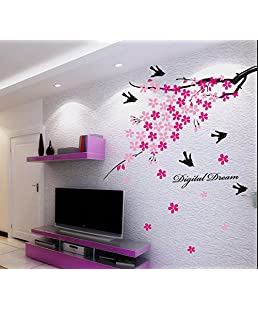 Oren Empower Pink Decorative Branch With Beautiful Birds Large Wall Sticker (Finished Size On Wall - 80(W) X 120(H) Cm)