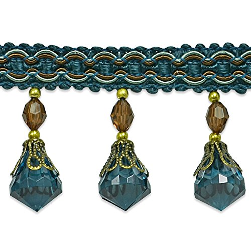 Expo International Saxon Bead Bauble Fringe Trim Embellishment, 20-Yard, Denim by Expo International Inc.