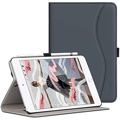 (Ztotop for New iPad Mini 5th Gen Case 2019 7.9-inch, Premium Leather Slim Folio Stand Smart Cover Case for iPad Mini 5 2019 with Auto Sleep/Wake, Wallet Pocket, Pencil Strap Holder - Dark Gray)