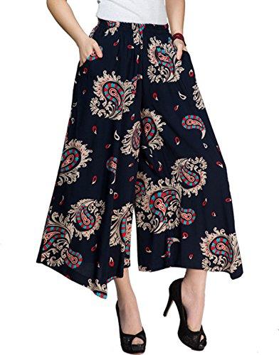 (Womens Comfy Elastic Waist Cotton&Linen Floral Culottes Wide Leg Pants Color 12 Size)