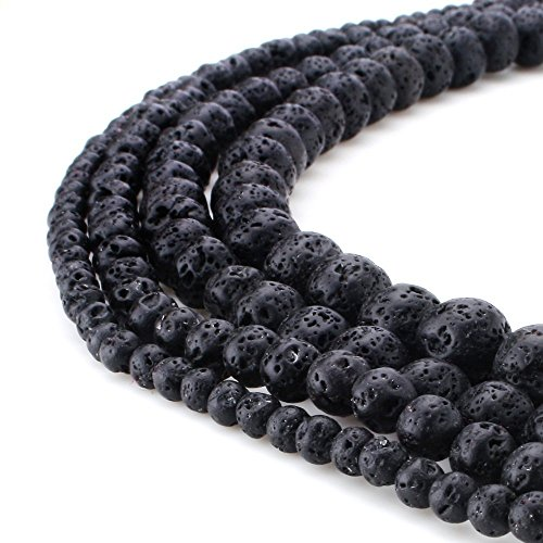 RUBYCA Wholesale Natural Black Lava Gemstone Round Loose Beads for Jewelry Making 1 Strand - 4mm
