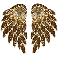 Womens Girls Cool Jewelry Angel Wings Rhinestone Drop Stud Earrings Wedding Engagement Jewelry for Party