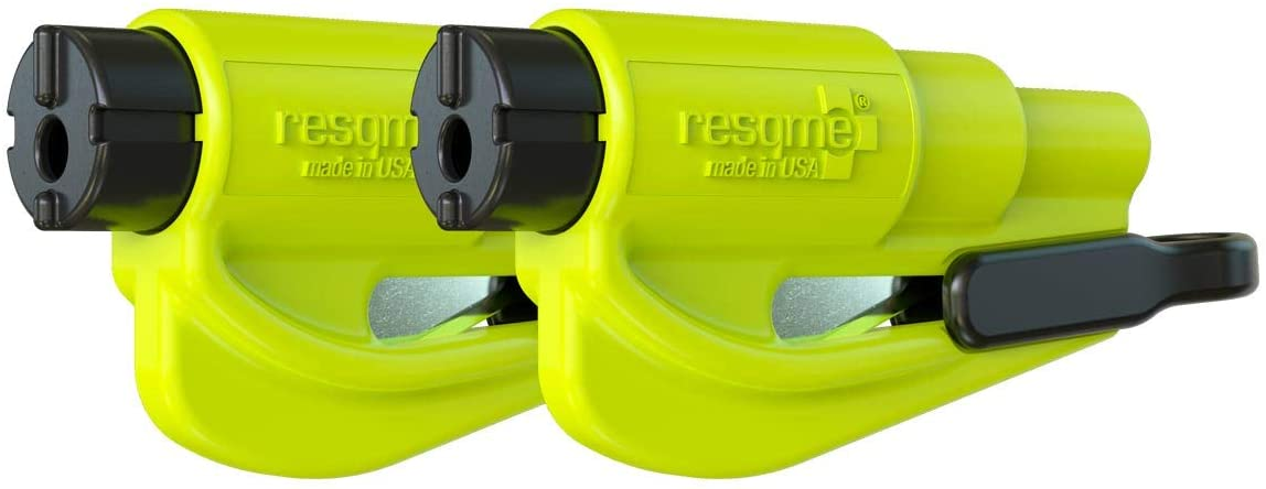 resqme Seatbelt Cutter and Window Glass Breaker 2 in 1 Quick Car Escape KeyChain Tool Neon - Pack of 2: Automotive