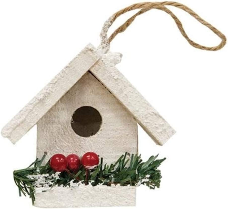 White Wood Birdhouse Christmas Ornament, Decorative Garden Gifts for Women, Rustic Shabby Chic Cottage Home Holiday Decor