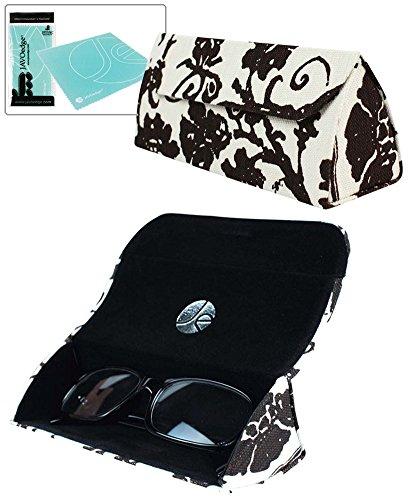JAVOedge Classic Brown Fleur Soft Printed Fabric with Magnetic Closure Triangle Shaped Eyeglasses case Bonus - Fleur Sunglasses