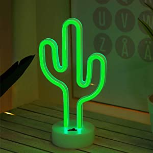 "Fiee Neon Signs ""Cactus"" Shaped Wall Decoration Lamp with Battery Powered/USB Night Table Lamp for Kids Room Party Supplies Table Decoration Children Gifts Art Dorm Decor Sign(Cacus with Holder)"