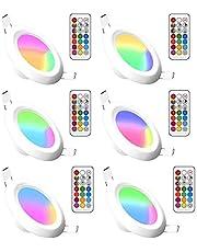 RGBW Led-inbouwlampen, dimbaar, rond paneel, verborgen led-kleurverandering, plafondlamp met geïntegreerde led-driver en afstandsbediening voor woonkamer, slaapkamer, keuken, badkamer (6 stuks, RGB Cool White, 5 W)
