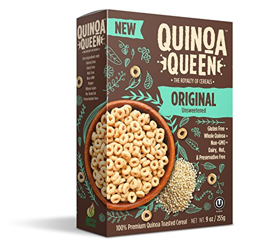 Quinoa Queen Cereal (Pack of 4), Original Unsweetened, Gluten Free Breakfast Cereal, Healthy for Entire Family, High in Protein and Fiber, 9 oz