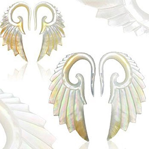 LOVE Pair Of Hand Carved Angelic Goth Steampunk Mother Of Pearl Angel Wing Tapers - 10G by The Jewelry Archivist (Image #1)'