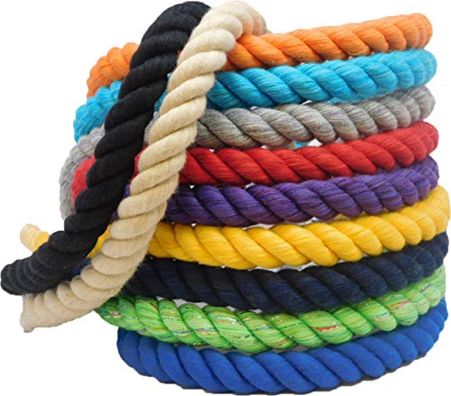 Ravenox Natural Twisted Cotton Rope | (Black Glitter)(5/8 Inch x 25 Feet) | Made in The USA | Strong Triple-Strand Rope for Sports, Décor, Pet Toys, Crafts, Macramé & Indoor Outdoor Use ()