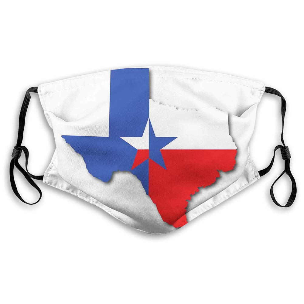 Windproof Printed Activated Carbon mask,Outline of The Texas Map American Southwest Austin Houston City,Facial decorations for teens child-19925