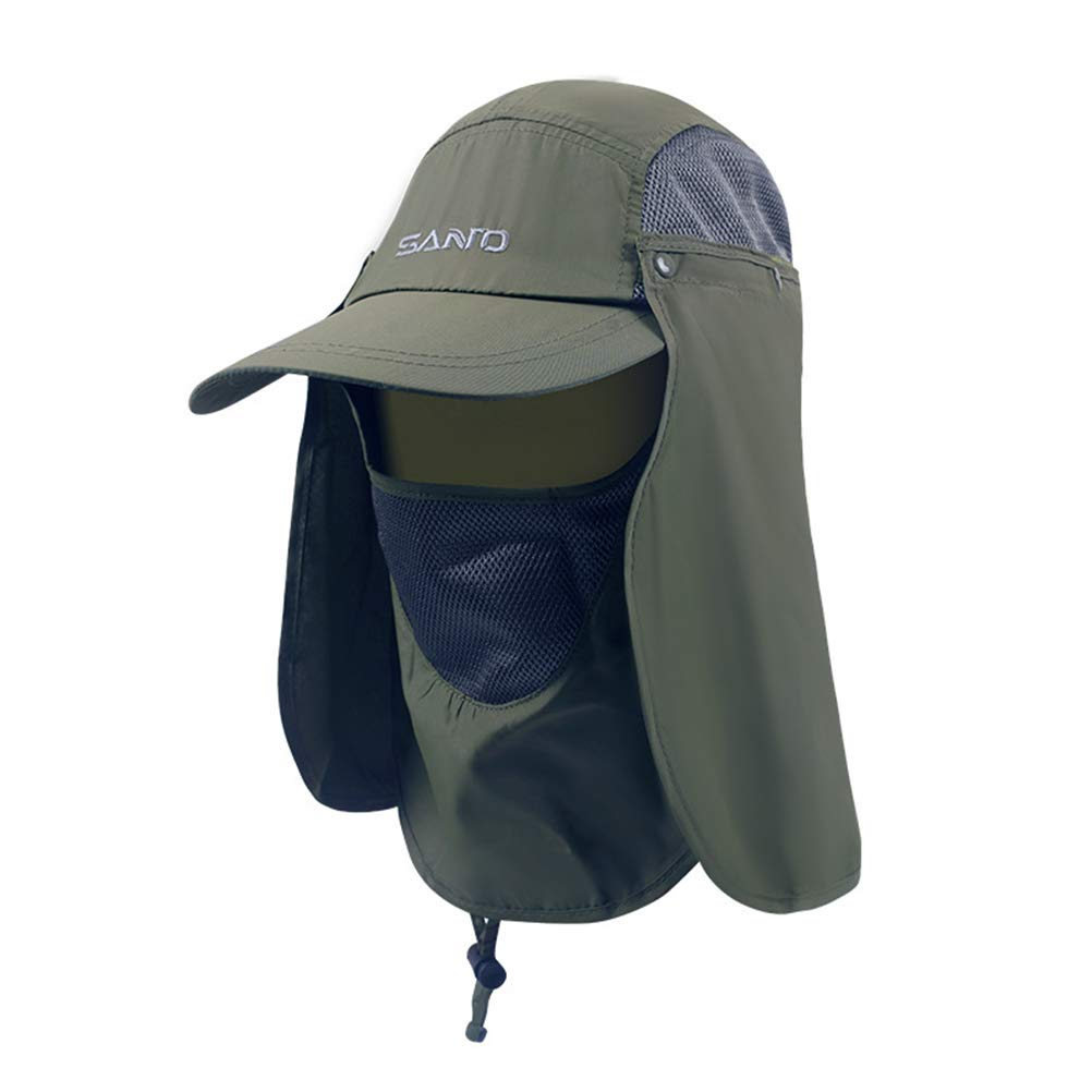 f2e011dfa3d83 LIOOBO Sun Hats Fishing Hat Flap Face Cover Mask Anti Sun Cap Neck Shoulder  Face UV Protection for Fishing Boating Outdoor Army Green  Amazon.ca   Sports   ...