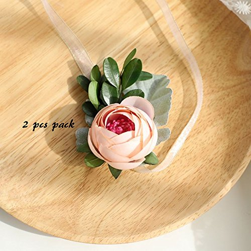 (Florashop 2 pcs Package Satin Peony Buds Silk Flowers Women's Wrist Corsage Hand Flower for Wedding Prom Party (Champagne Wrist Corsage))