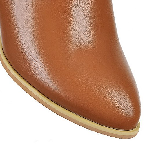 Heels Closed Solid Top Soft Kitten Low Pointed Toe Material AllhqFashion Womens Brown Boots RBIWqvn