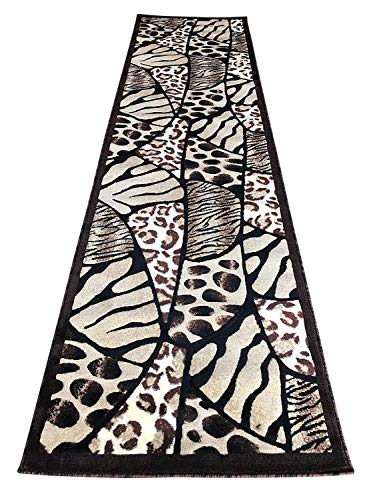 (Animal Skin Print Tiger Giraffe Leopard Long Runner Rug Black Brown Beige Design 516 (31 Inch X 9 Feet 10)