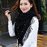HOMEE Female Pearl Scarf Pashmina Scarf Thickened Students Warm in Winter,Black