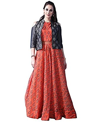 f13f9b5d79 Isha Ent. Women s Chanderi Cotton Digital Print Gown(ISA-1013 Orange)   Amazon.in  Clothing   Accessories