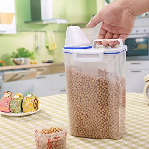 Clearance Sale!DEESEE(TM)2L Plastic Cereal Dispenser Storage Box Kitchen Food Grain Rice Container Nice