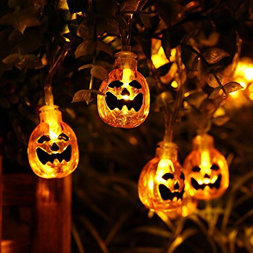 Icicle Battery Powered Pumpkin Halloween String Lights, 20 Led 9.51ft Halloween Decoration Lights (Halloween Decorations Yard)