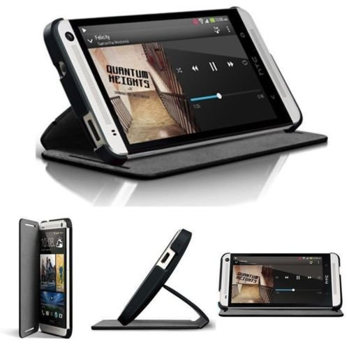 For HTC ONE M7 GENUINE Stand Full Protection Flip Leather Case Cover Double Dip - Pedestal Dip