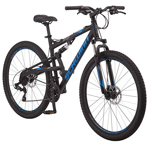 Schwinn S29 Dual-Suspension Mountain Bike with 29-Inch Wheels in Matte Black/Blue, Featuring 18-Inch/Medium Aluminum Frame, Mechanical Disc Brakes, and 21-Speed Shimano Drivetrain