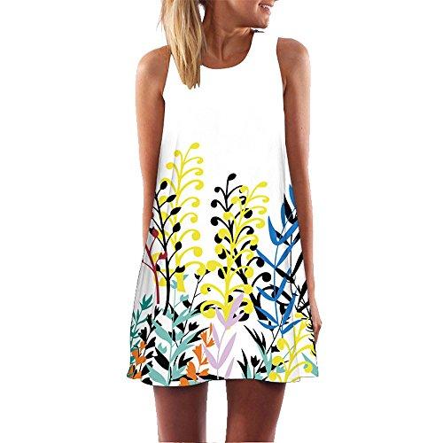 Mini Dress, Women's Casual Vintage Loose Dress 3D Floral Printed Sleeveless Sundress Boho Tank T-Shirt Dress (XL, E) ()