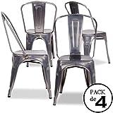 Pack 4 sedie TOLIX Replica grigio zincato