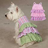 Zack and Zoey Summer Breeze Light Pink and Purple Gingham Plaid and Daisies Daisy Print Ruffle Dog Seersucker Dress Small, My Pet Supplies