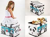 Aufbewahrungsbox mit Deckel Spielzeugkiste Spielzeugbox Sitz Hocker 3718 (Panda)