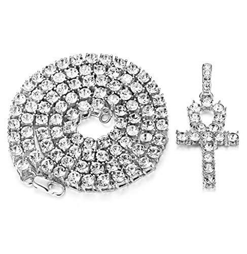 Milacolato Ankh Cross Pendant 18K Plated Hip Hop Bling Rhinestone Cubic Zirconia Tennis Necklace Men Women Jewelry Silver Tone 61cm ()