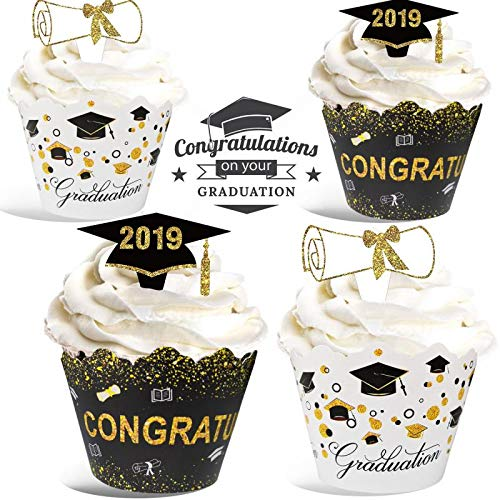 Graduation Cupcake Wrappers Toppers Kit - 24 Sets Gold Black White Graduation Party Decoration - Congrats Grad Cake Decor for Gift Class of 2019 Party Supplies Ceremony Theme Party