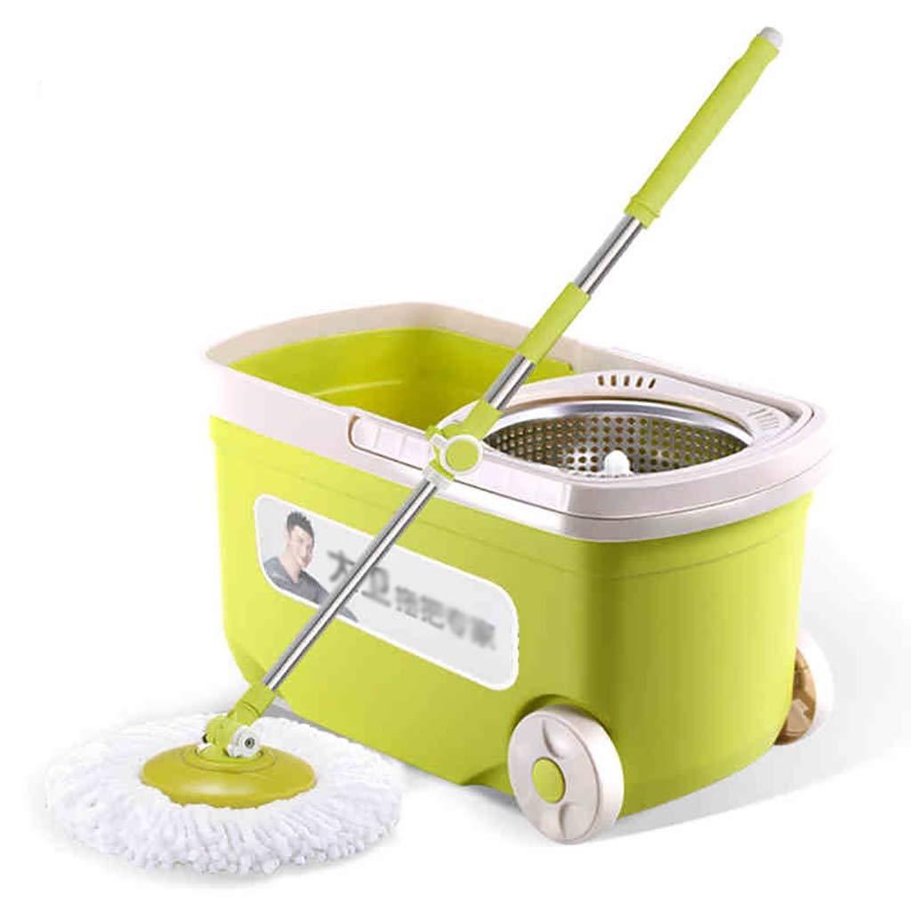 フロアモップワイパー 回転モップ、360°回転モップヘッド、ハンドフリー洗濯、洗濯と乾燥、(マイクロファイバー) B07L8G7GHY