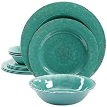 Gibson Studio 94995.12 Line by Laurie Gates 12 Piece Mauna Melamine Dinnerware Set of 4, Green