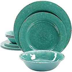 Gibson Studio 94995.12 Mauna 12 Piece Heavy Weight Melamine Dinnerware Set, Green