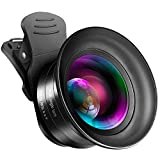 Cell Phone Camera Lens Kit - VIEWOW 4K HD 7 Optical Glasses 15X Macro 0.45X Wide Angle Phone Lens Kit with LED Light and Travel Case, Compatible with iPhone Samsung Pixel (0.15X Wide Angle)
