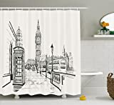 City Scene Shower Curtain Ambesonne Modern Shower Curtain, London City with Big Ben Monument Scene in Sketch Style British Famous Town Artwork, Fabric Bathroom Decor Set with Hooks, 70 Inches, Beige Black