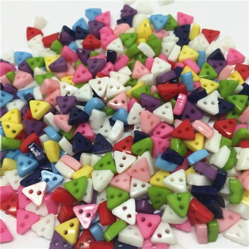 Pukido 500pcs 6mm Plastic Mini Star/Heart/Flower/Square/Triangle Buttons Sewing 2 Hole Tiny Doll Clothing Button for Scrapbooking - (Color: Triangle Shape)