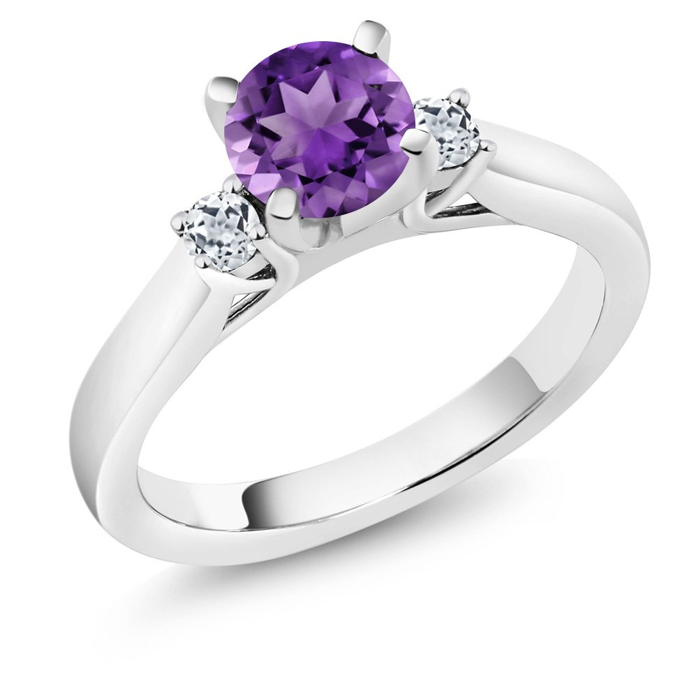 1.03 Ct Round Purple Amethyst White Topaz 925 Sterling Silver Engagement Ring USN-1128-RD-AM-PUR-T-W-SS