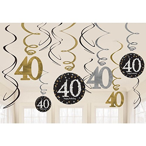 Amscan Party Supplies Sparkling Celebration 40 Value Pack Foil Swirl Decorations (12 Piece), Multi (40th Bday Decorations)