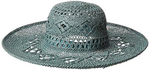 ale by Alessandra Women's Floresta Intricate Weave Toyo Boho Floppy Hat, Teal, One Size